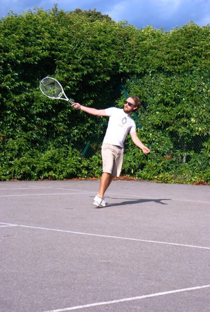 Phil playing tennis