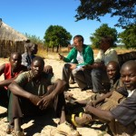 Meeting people in the village of Mululumi, Western Zambia