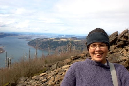 Laura with the Columbia River Behind