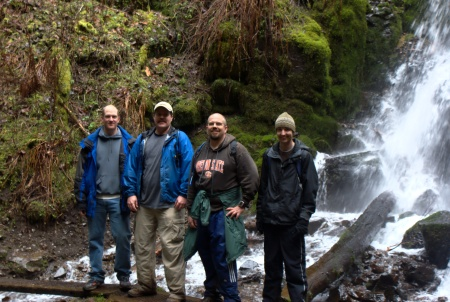 The guys by a waterfall