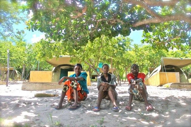 Women sitting outside