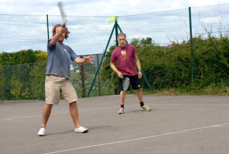 "Brother Phil with his trademark ""can't be bothered to move my feet"" forehand"