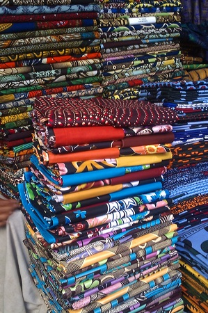 Some colourful fabrics being sold in downtown Dar es Salaam