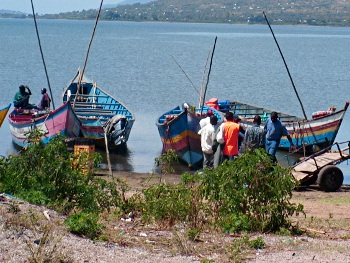 Fishermen by Lake Victoria