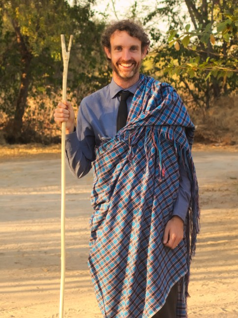 The Mbugwe cloth and staff that I was given as a gift